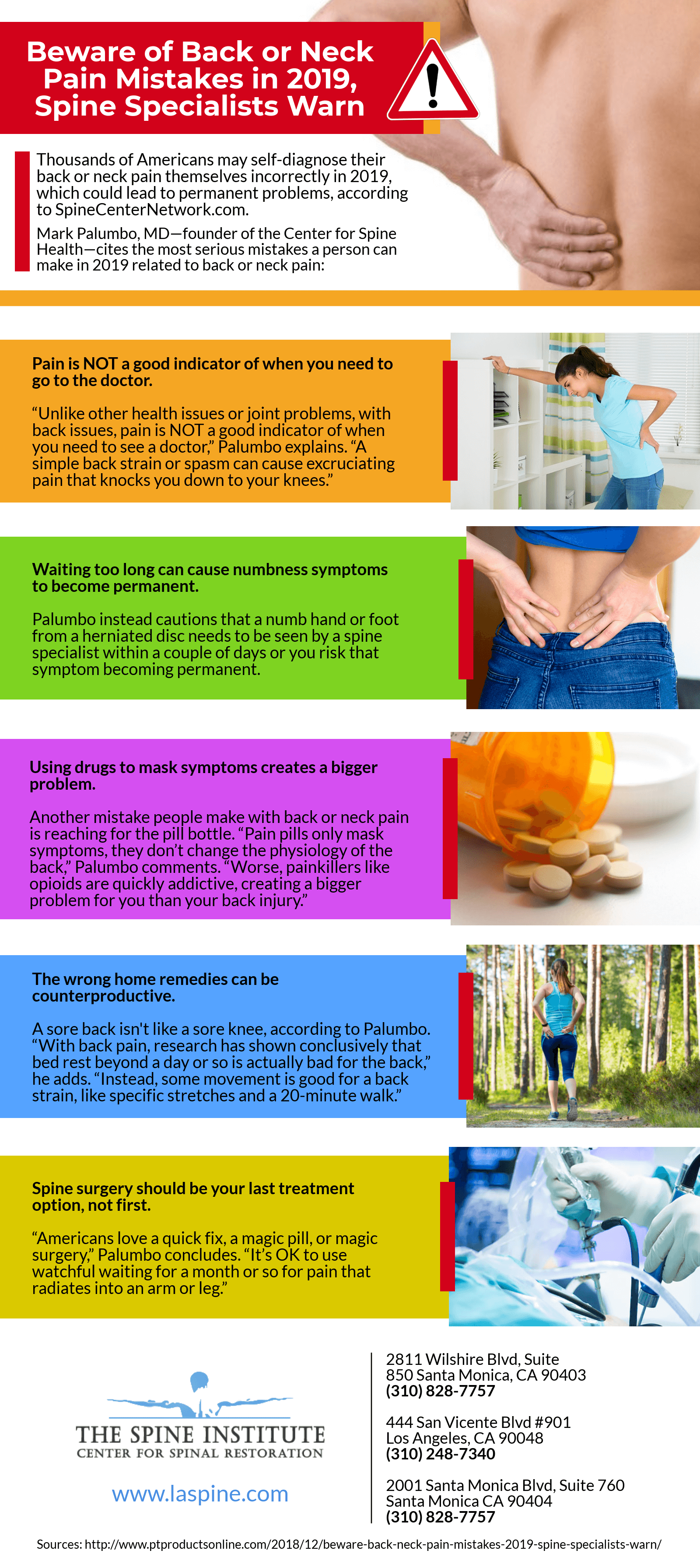 Back & Neck Pain Mistakes To Avoid in 2019 [Infographic]